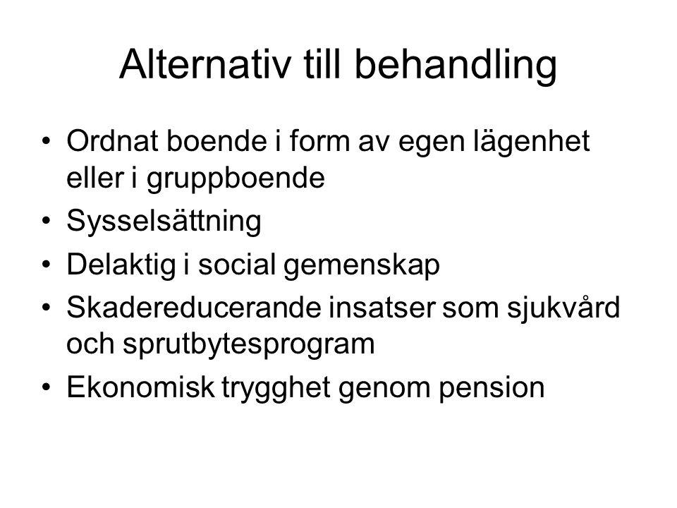 Alternativ till behandling Ordnat boende i form av egen lägenhet eller i gruppboende Sysselsättning Delaktig i social gemenskap Skadereducerande insatser som sjukvård och sprutbytesprogram Ekonomisk trygghet genom pension