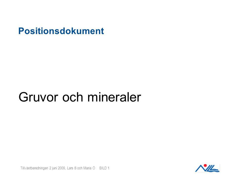 Tillväxtberedningen 2 juni 2009, Lars S och Maria Ö BILD 1 Positionsdokument Gruvor och mineraler
