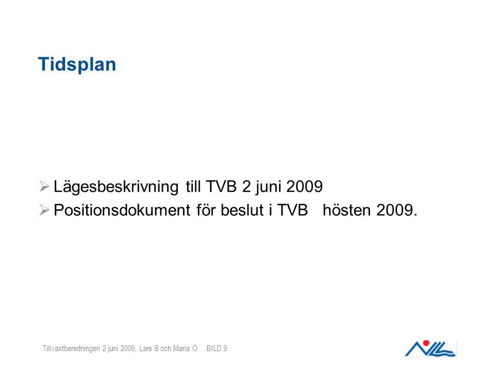 Tillväxtberedningen 2 juni 2009, Lars S och Maria Ö BILD 9 Tidsplan  Lägesbeskrivning till TVB 2 juni 2009  Positionsdokument för beslut i TVB hösten 2009.