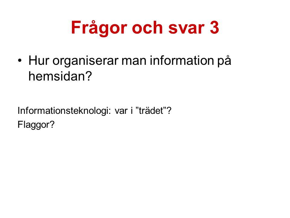 Frågor och svar 3 Hur organiserar man information på hemsidan.