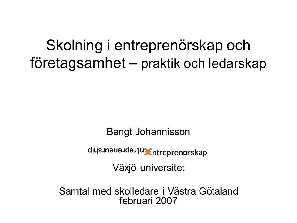 Skolning i entreprenörskap och företagsamhet – praktik och ledarskap Bengt Johannisson Växjö universitet Samtal med skolledare i Västra Götaland febru