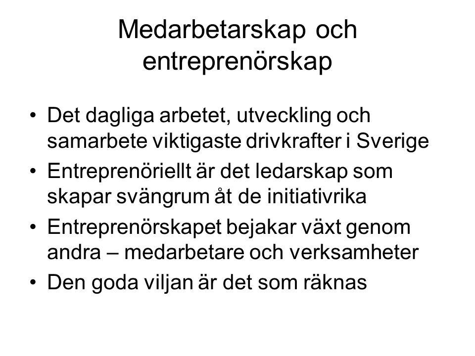 Medarbetarskap och entreprenörskap Det dagliga arbetet, utveckling och samarbete viktigaste drivkrafter i Sverige Entreprenöriellt är det ledarskap so