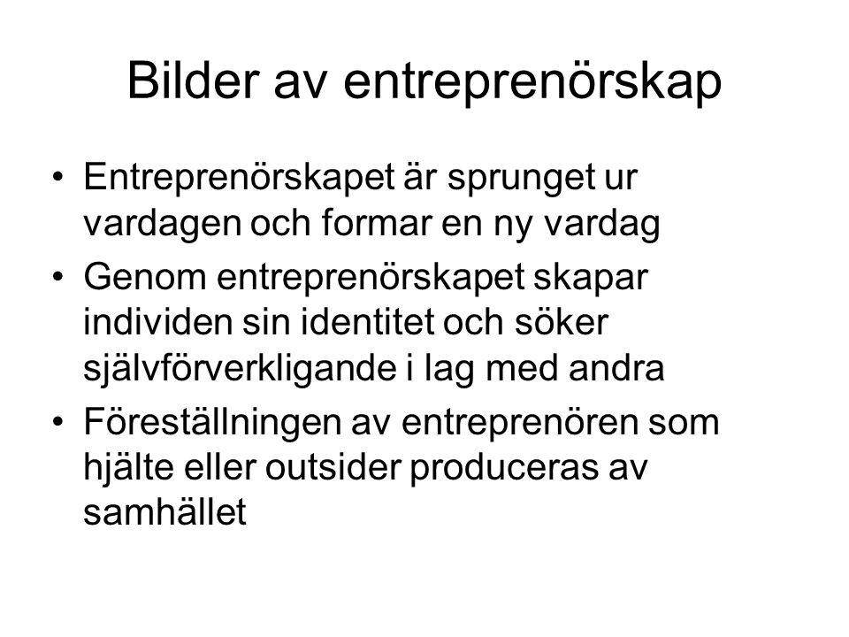 Bilder av entreprenörskap Entreprenörskapet är sprunget ur vardagen och formar en ny vardag Genom entreprenörskapet skapar individen sin identitet och