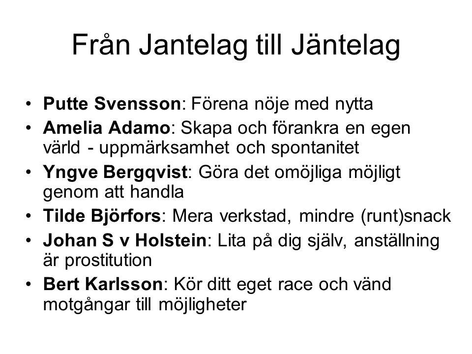 Från Jantelag till Jäntelag Putte Svensson: Förena nöje med nytta Amelia Adamo: Skapa och förankra en egen värld - uppmärksamhet och spontanitet Yngve
