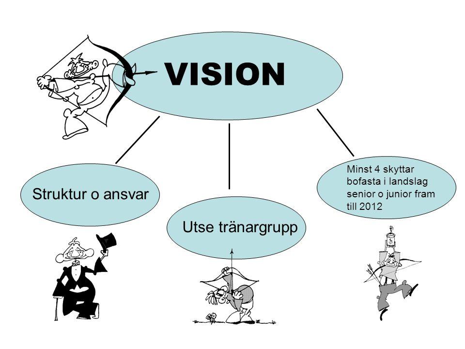 VISION Struktur o ansvar Utse tränargrupp Minst 4 skyttar bofasta i landslag senior o junior fram till 2012