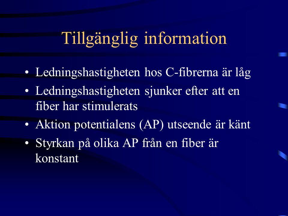 Tillgänglig information Ledningshastigheten hos C-fibrerna är låg Ledningshastigheten sjunker efter att en fiber har stimulerats Aktion potentialens (
