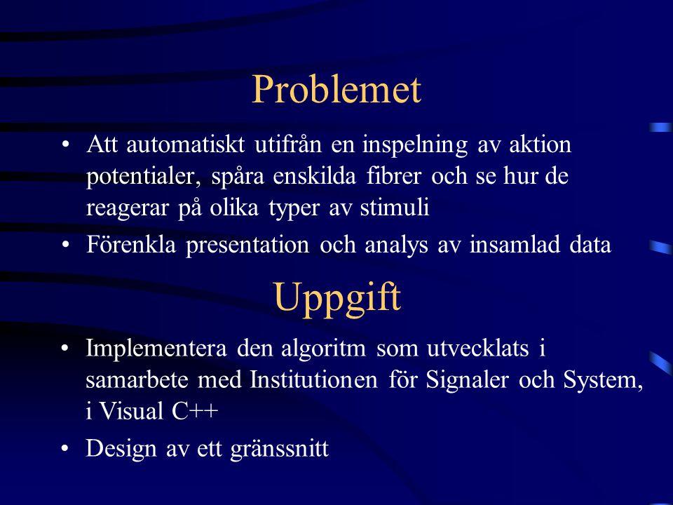 Problemet Att automatiskt utifrån en inspelning av aktion potentialer, spåra enskilda fibrer och se hur de reagerar på olika typer av stimuli Förenkla presentation och analys av insamlad data Uppgift Implementera den algoritm som utvecklats i samarbete med Institutionen för Signaler och System, i Visual C++ Design av ett gränssnitt