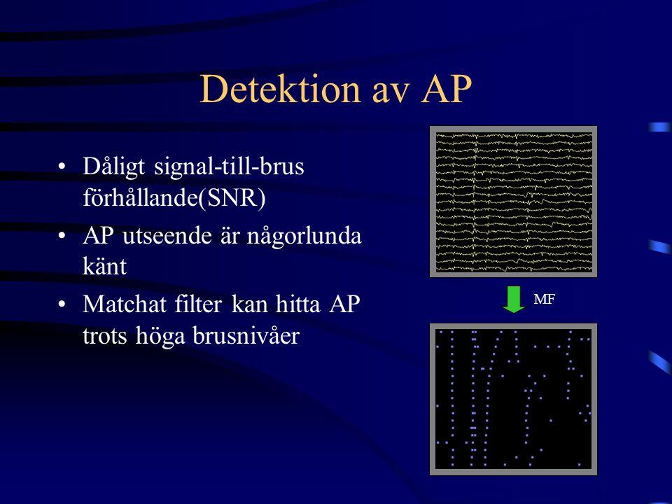 Detektion av AP Dåligt signal-till-brus förhållande(SNR) AP utseende är någorlunda känt Matchat filter kan hitta AP trots höga brusnivåer MF