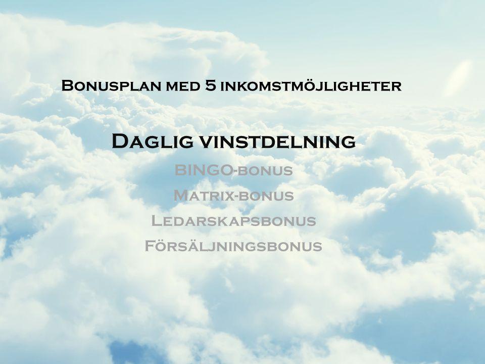 Daglig vinstdelning BINGO-bonus Matrix-bonus Ledarskapsbonus Försäljningsbonus Bonusplan med 5 inkomstmöjligheter