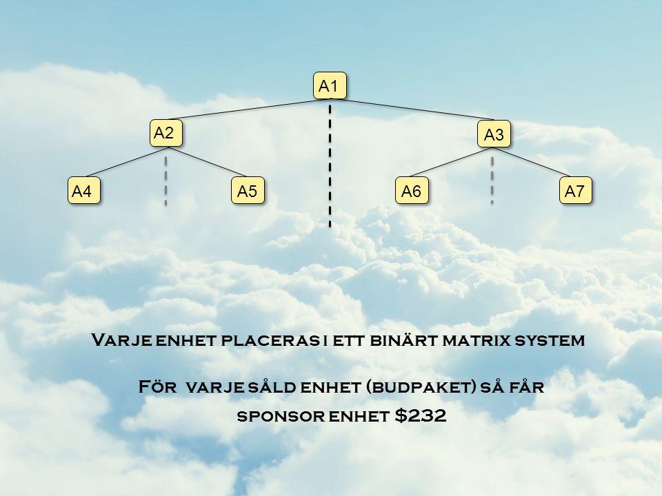 Varje enhet placeras i ett binärt matrix system A1 A2 A3 A4A5A6A7 För varje såld enhet (budpaket) så får sponsor enhet $232