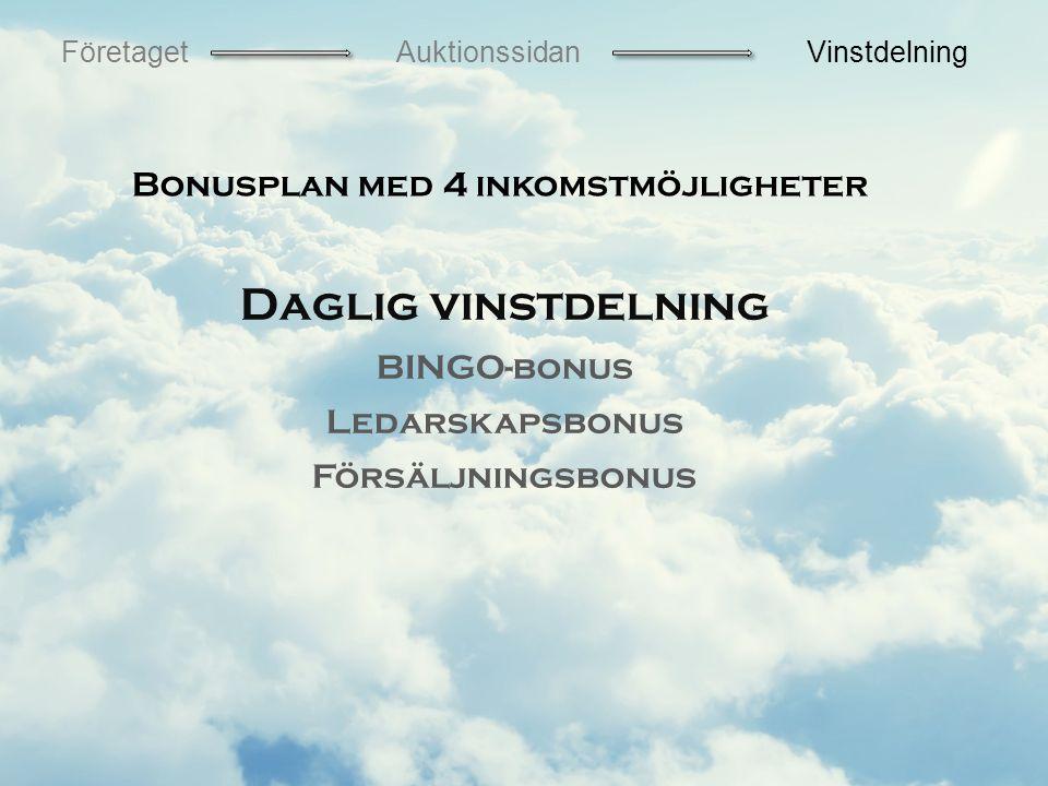Daglig vinstdelning BINGO-bonus Ledarskapsbonus Försäljningsbonus Bonusplan med 4 inkomstmöjligheter FöretagetAuktionssidanVinstdelning