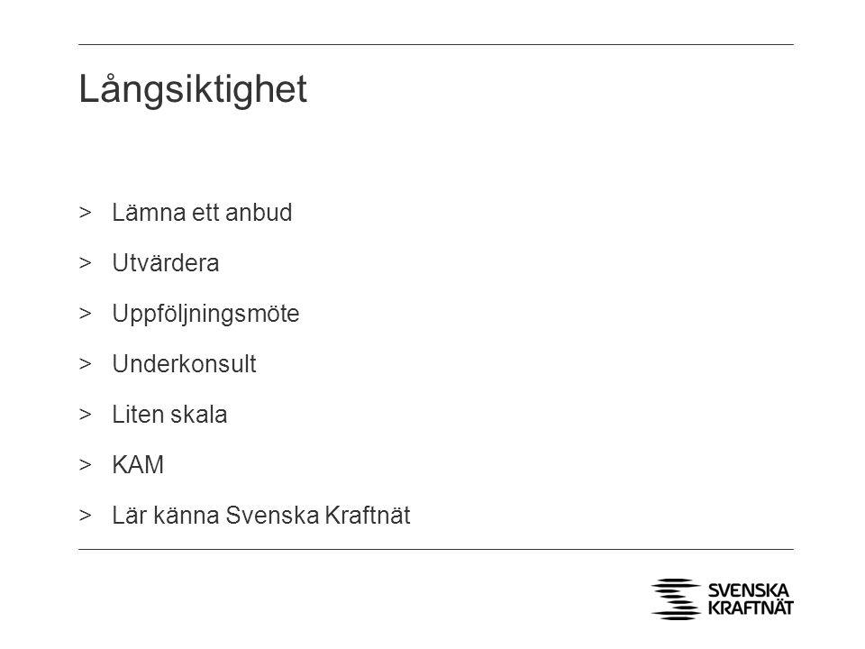 Långsiktighet >Lämna ett anbud >Utvärdera >Uppföljningsmöte >Underkonsult >Liten skala >KAM >Lär känna Svenska Kraftnät