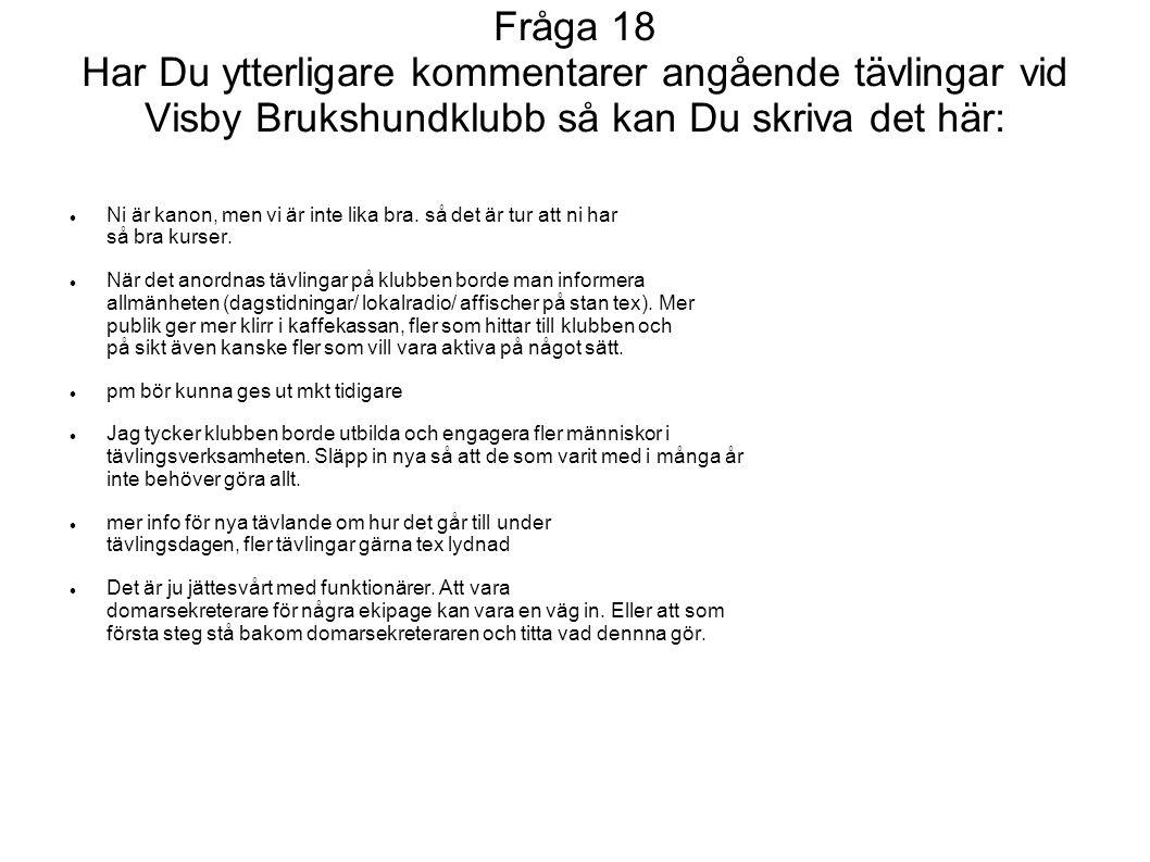 Fråga 18 Har Du ytterligare kommentarer angående tävlingar vid Visby Brukshundklubb så kan Du skriva det här: Ni är kanon, men vi är inte lika bra. så