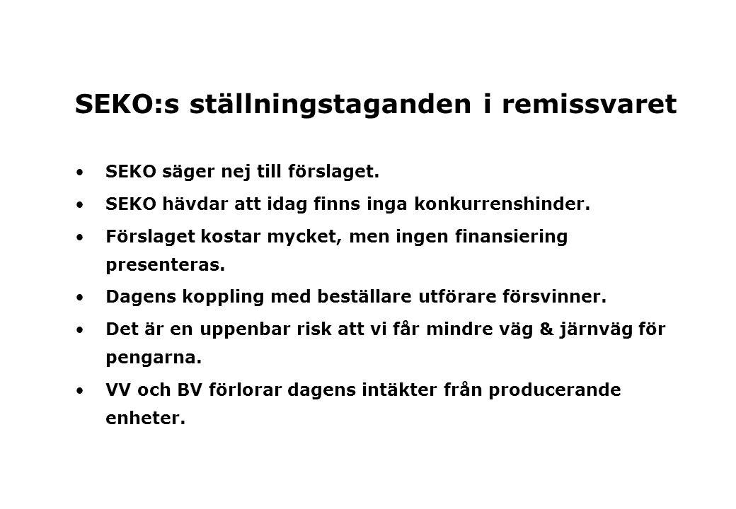 SEKO:s ställningstaganden i remissvaret SEKO säger nej till förslaget.