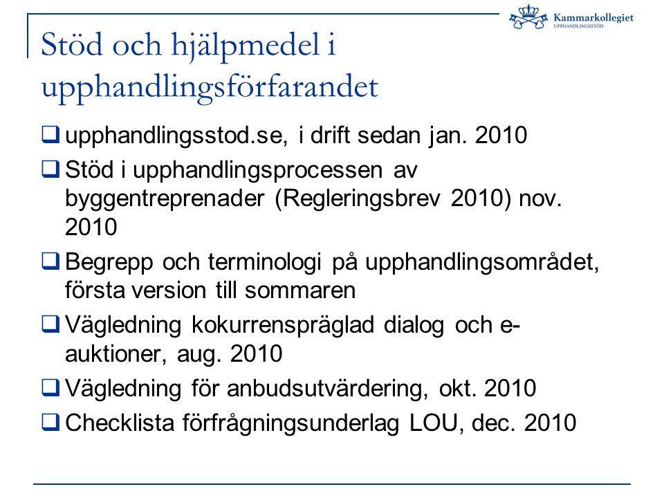 Stöd och hjälpmedel i upphandlingsförfarandet  upphandlingsstod.se, i drift sedan jan.