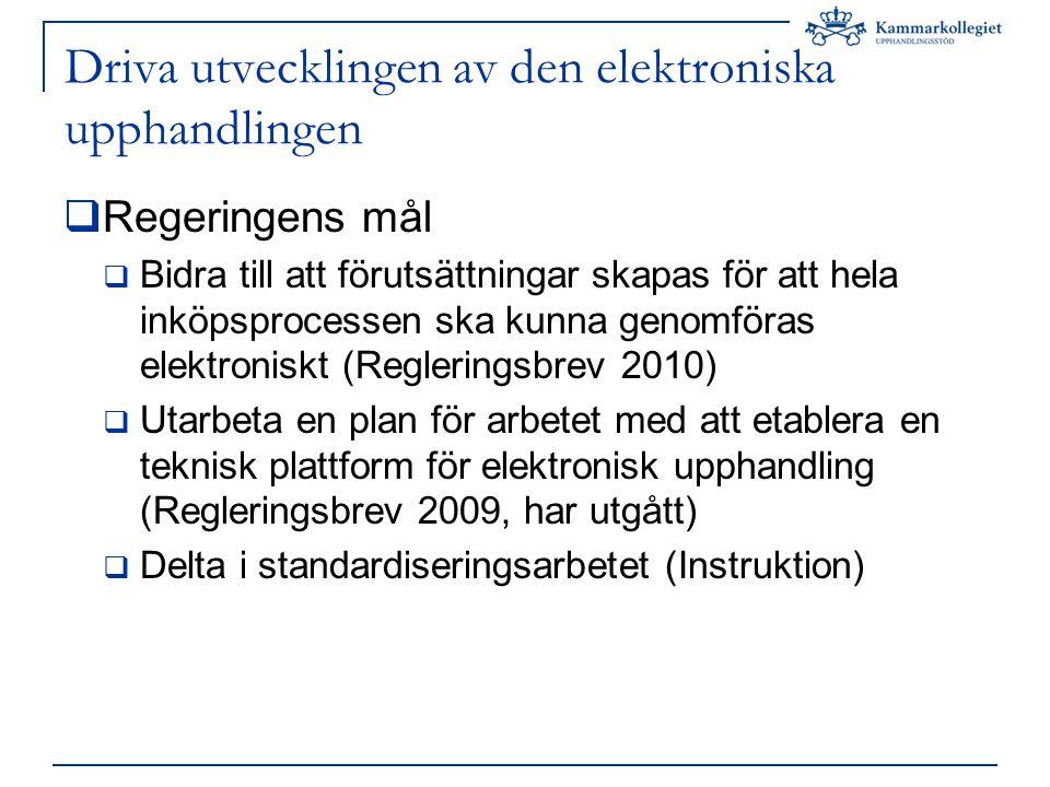 Driva utvecklingen av den elektroniska upphandlingen  Regeringens mål  Bidra till att förutsättningar skapas för att hela inköpsprocessen ska kunna genomföras elektroniskt (Regleringsbrev 2010)  Utarbeta en plan för arbetet med att etablera en teknisk plattform för elektronisk upphandling (Regleringsbrev 2009, har utgått)  Delta i standardiseringsarbetet (Instruktion)