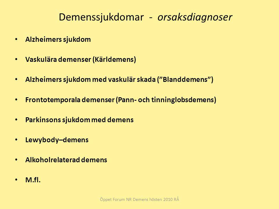 Demenssjukdomar - orsaksdiagnoser Alzheimers sjukdom Vaskulära demenser (Kärldemens) Alzheimers sjukdom med vaskulär skada ( Blanddemens ) Frontotemporala demenser (Pann- och tinninglobsdemens) Parkinsons sjukdom med demens Lewybody–demens Alkoholrelaterad demens M.fl.