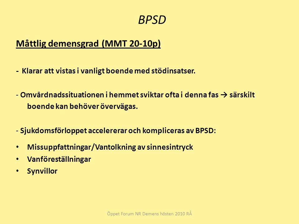 BPSD Måttlig demensgrad (MMT 20-10p) - Klarar att vistas i vanligt boende med stödinsatser. - Omvårdnadssituationen i hemmet sviktar ofta i denna fas