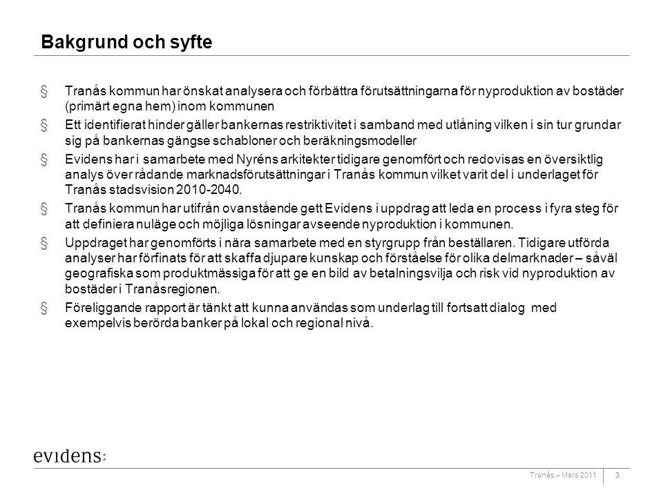 Tranås – Mars 201133 Bakgrund och syfte § Tranås kommun har önskat analysera och förbättra förutsättningarna för nyproduktion av bostäder (primärt egn