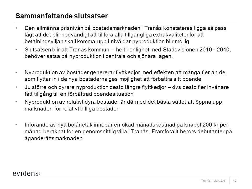 Tranås – Mars 2011 Sammanfattande slutsatser Den allmänna prisnivån på bostadsmarknaden i Tranås konstateras ligga så pass lågt att det blir nödvändig