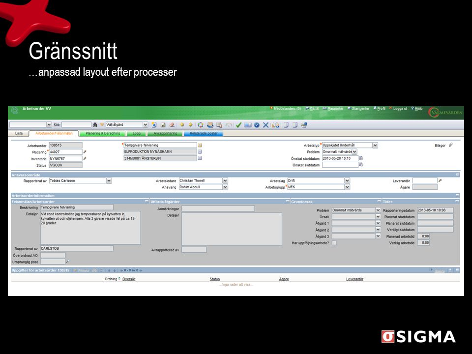 Gränssnitt …anpassad layout efter processer