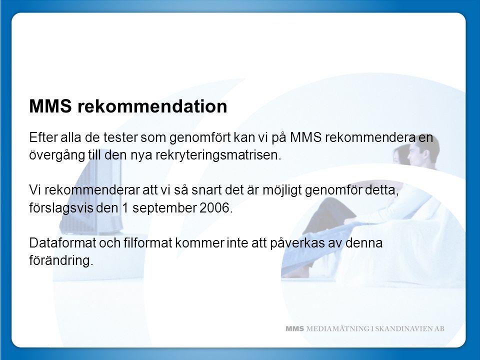 MMS rekommendation Efter alla de tester som genomfört kan vi på MMS rekommendera en övergång till den nya rekryteringsmatrisen.