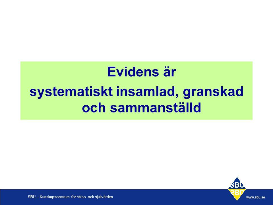 SBU – Kunskapscentrum för hälso- och sjukvården www.sbu.se Evidens är systematiskt insamlad, granskad och sammanställd