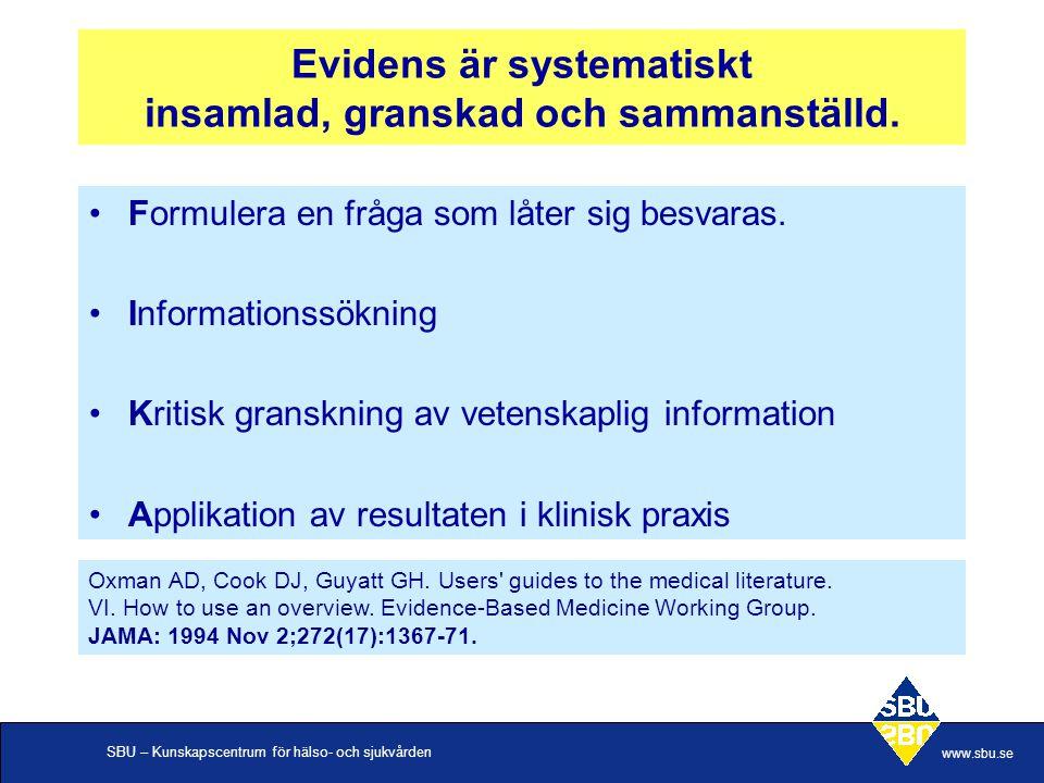 SBU – Kunskapscentrum för hälso- och sjukvården www.sbu.se Evidens är systematiskt insamlad, granskad och sammanställd. Formulera en fråga som låter s