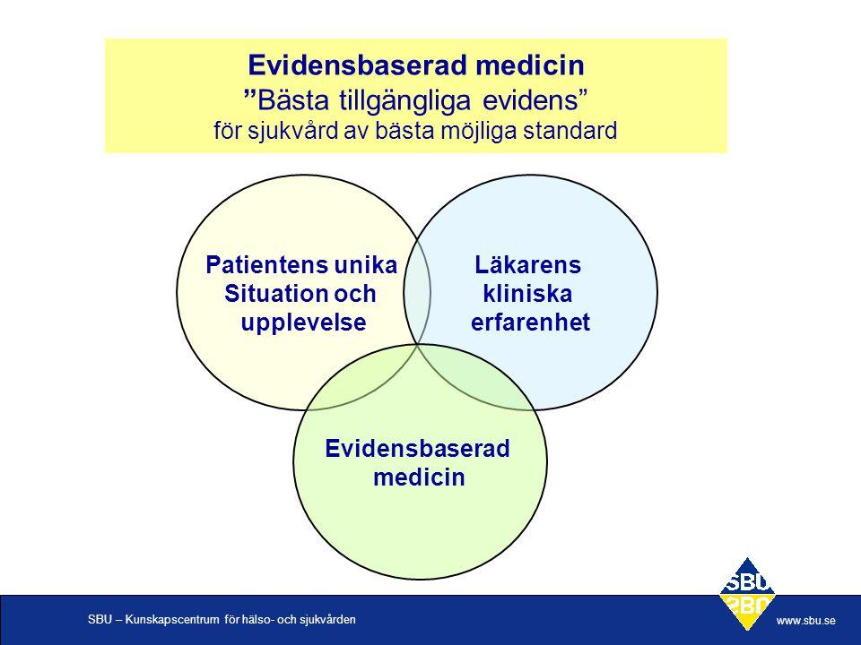 """SBU – Kunskapscentrum för hälso- och sjukvården www.sbu.se Evidensbaserad medicin """"Bästa tillgängliga evidens"""" för sjukvård av bästa möjliga standard"""