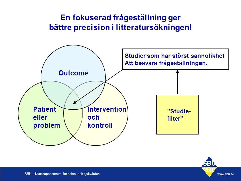 SBU – Kunskapscentrum för hälso- och sjukvården www.sbu.se En fokuserad frågeställning ger bättre precision i litteratursökningen! Patient eller probl