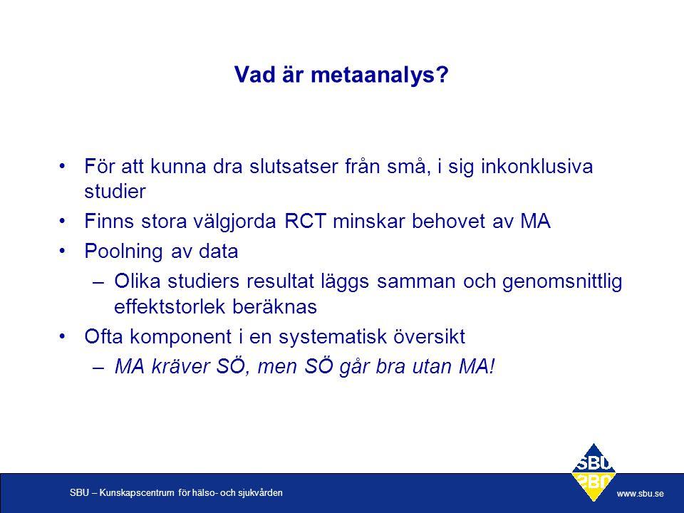 SBU – Kunskapscentrum för hälso- och sjukvården www.sbu.se Vad är metaanalys? För att kunna dra slutsatser från små, i sig inkonklusiva studier Finns