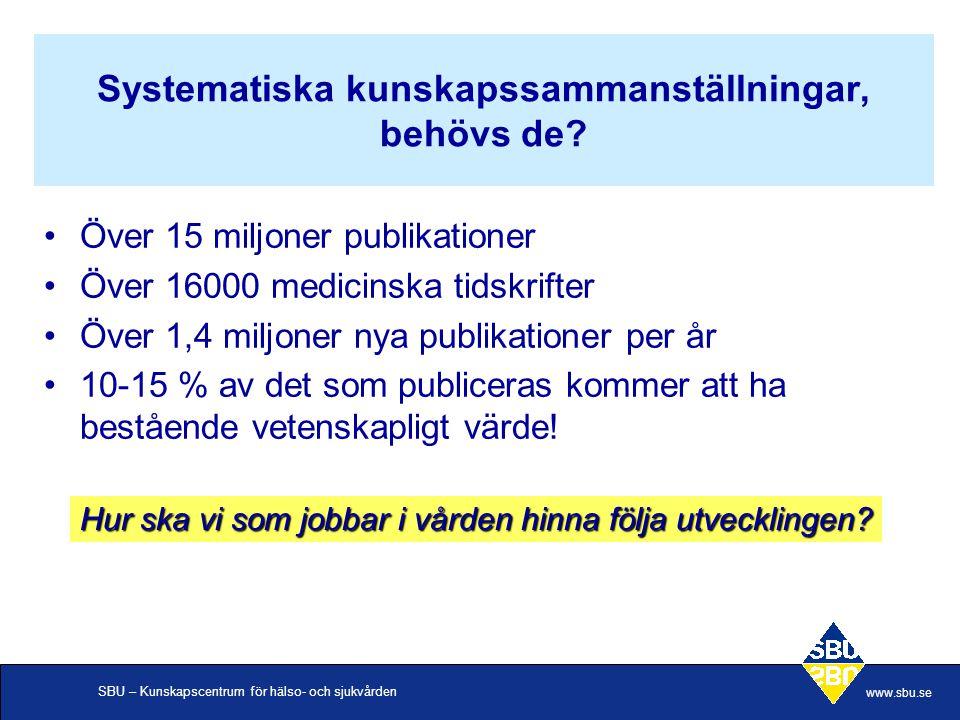 SBU – Kunskapscentrum för hälso- och sjukvården www.sbu.se Systematiska kunskapssammanställningar, behövs de? Över 15 miljoner publikationer Över 1600