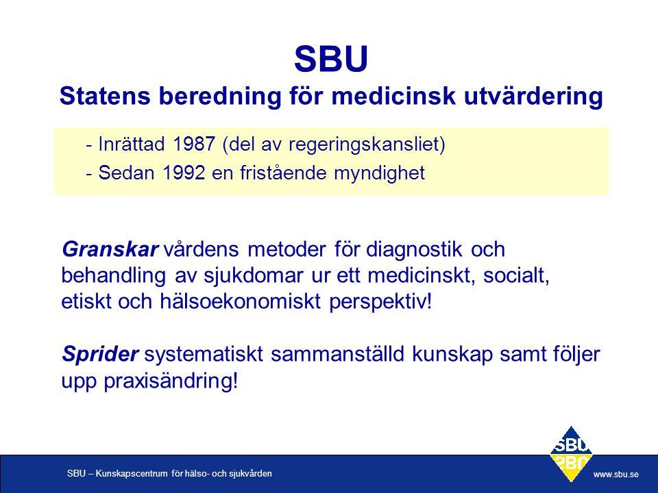 SBU – Kunskapscentrum för hälso- och sjukvården www.sbu.se SBU Statens beredning för medicinsk utvärdering - Inrättad 1987 (del av regeringskansliet)
