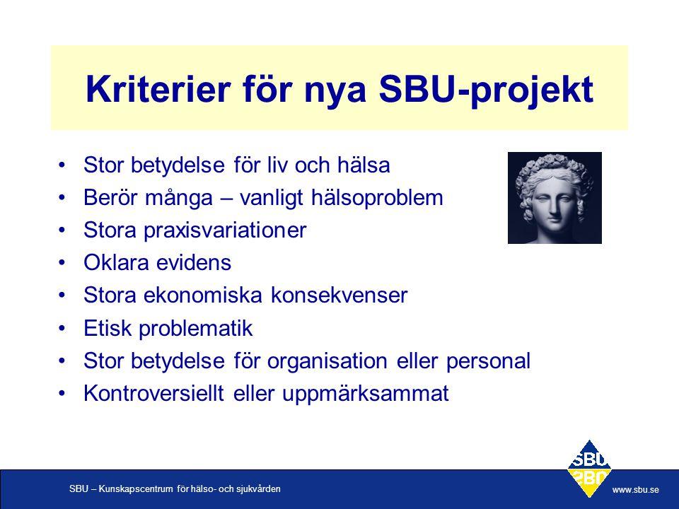 SBU – Kunskapscentrum för hälso- och sjukvården www.sbu.se Kriterier för nya SBU-projekt Stor betydelse för liv och hälsa Berör många – vanligt hälsop