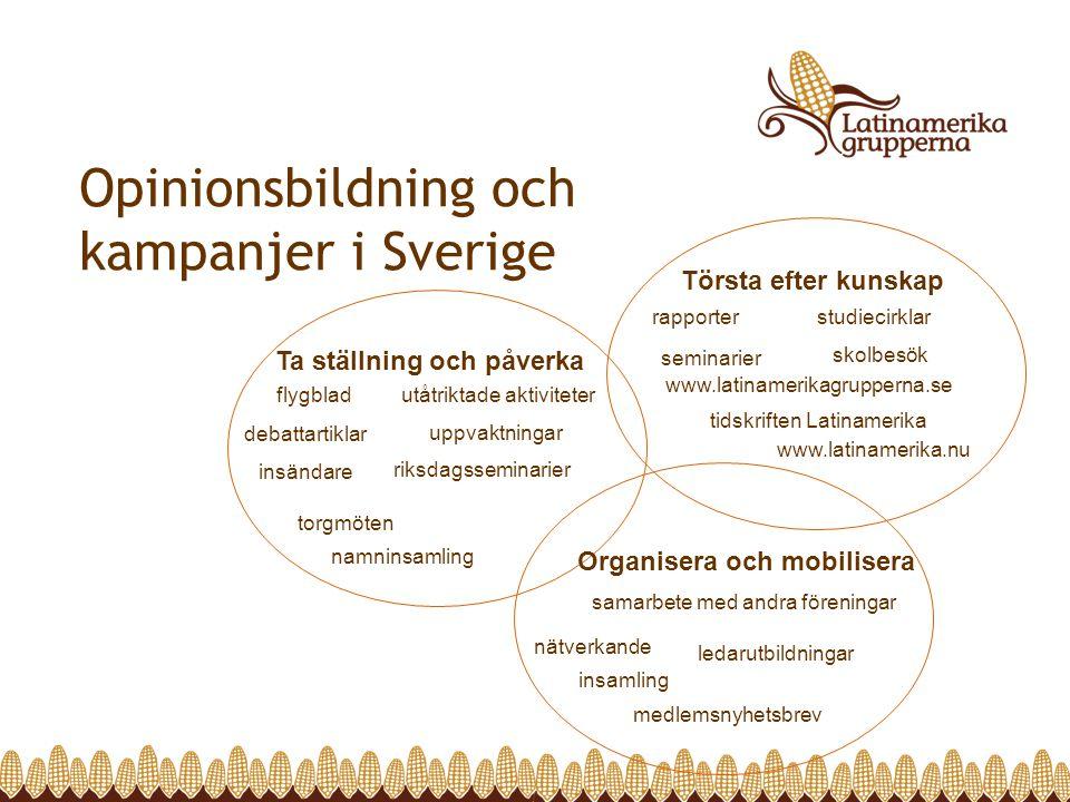 Opinionsbildning och kampanjer i Sverige Törsta efter kunskap www.latinamerikagrupperna.se rapporter studiecirklar www.latinamerika.nu seminarier tids