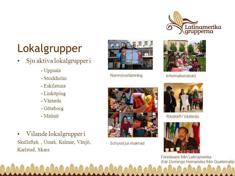 Lokalgrupper Sju aktiva lokalgrupper i - Uppsala - Stockholm - Eskilstuna - Linköping - Västerås - Göteborg - Malmö Vilande lokalgrupper i Skellefteå,