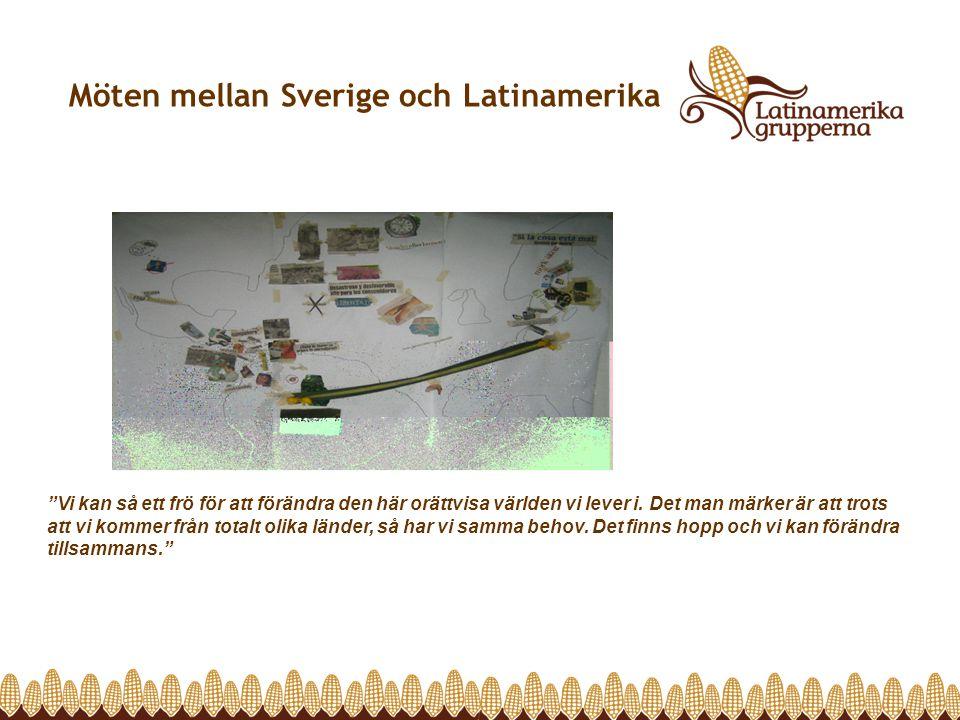 """Möten mellan Sverige och Latinamerika """"Vi kan så ett frö för att förändra den här orättvisa världen vi lever i. Det man märker är att trots att vi kom"""
