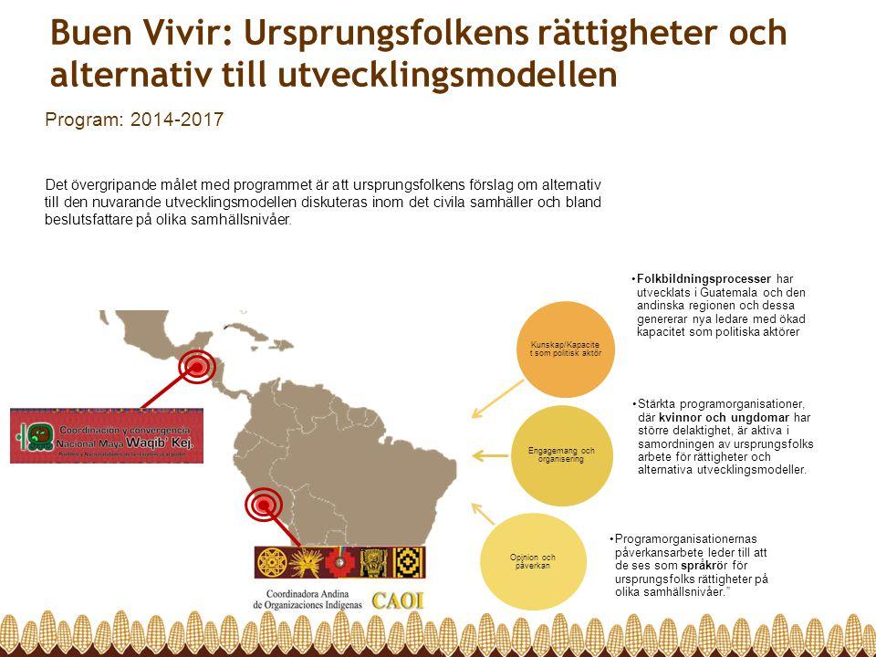 Matsuveränitet som ett alternativt system Program: 2014-2017 Detta program strävar efter att skapa förutsättningar för att kunna införa matsuveränitet i Latinamerika och på så vis uppnå rättvisa, jämlikhet och en ökad inkludering av småbrukare, lantarbetare, jordlösa och ursprungsfolk i de demokratiska systemen.