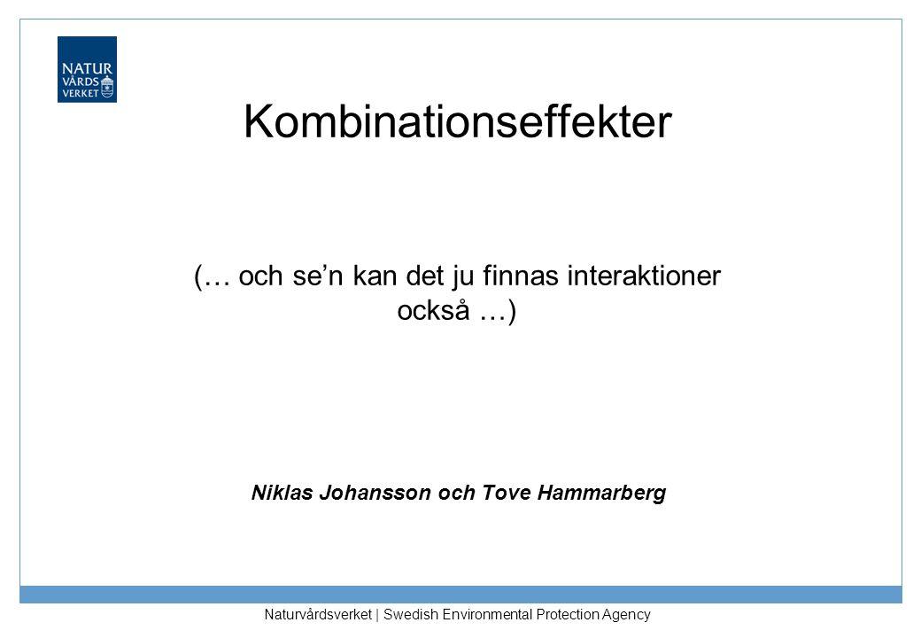 Naturvårdsverket | Swedish Environmental Protection Agency Kombinationseffekter (… och se'n kan det ju finnas interaktioner också …) Niklas Johansson och Tove Hammarberg