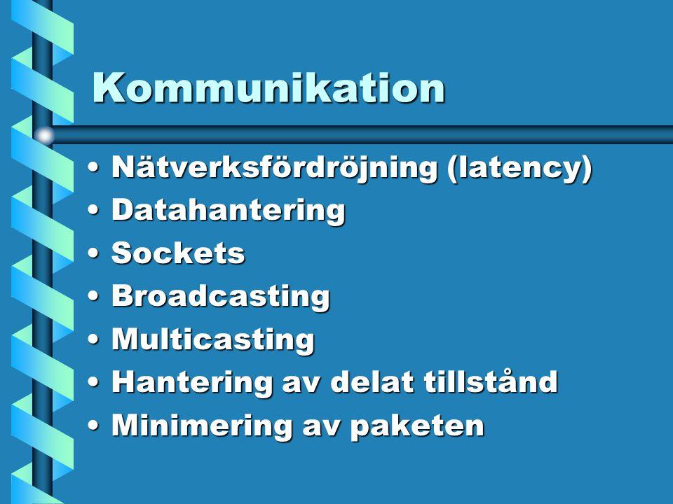 Kommunikation Nätverksfördröjning (latency)Nätverksfördröjning (latency) DatahanteringDatahantering SocketsSockets BroadcastingBroadcasting MulticastingMulticasting Hantering av delat tillståndHantering av delat tillstånd Minimering av paketenMinimering av paketen