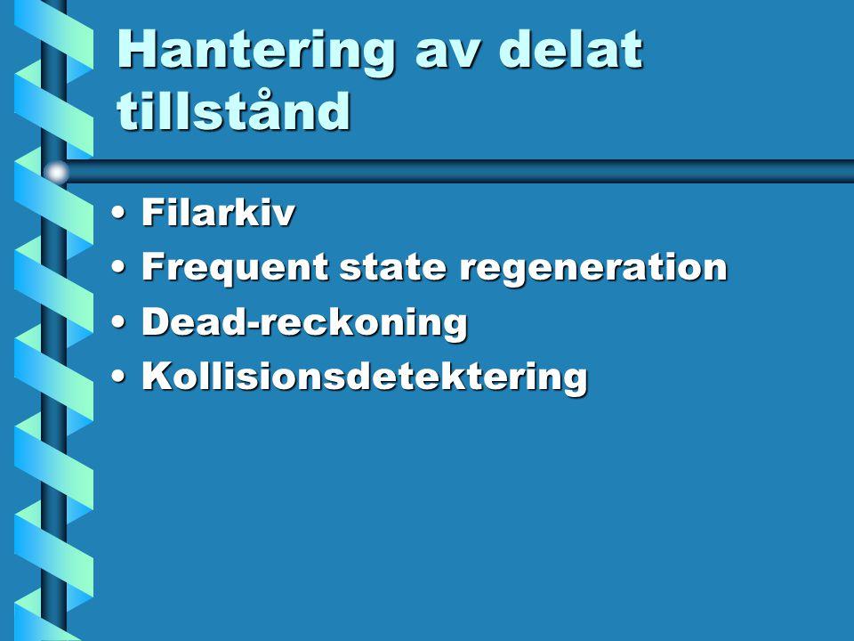 Hantering av delat tillstånd FilarkivFilarkiv Frequent state regenerationFrequent state regeneration Dead-reckoningDead-reckoning KollisionsdetekteringKollisionsdetektering