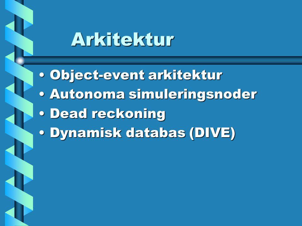 Arkitektur Object-event arkitekturObject-event arkitektur Autonoma simuleringsnoderAutonoma simuleringsnoder Dead reckoningDead reckoning Dynamisk databas (DIVE)Dynamisk databas (DIVE)