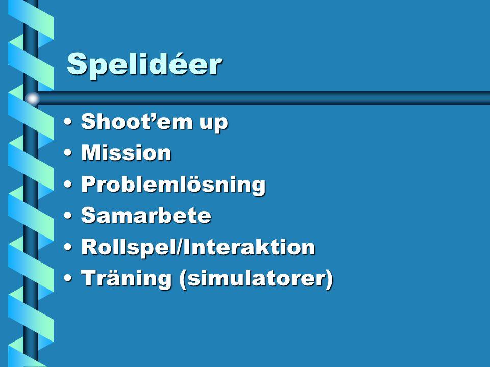 Spelidéer Shoot'em upShoot'em up MissionMission ProblemlösningProblemlösning SamarbeteSamarbete Rollspel/InteraktionRollspel/Interaktion Träning (simulatorer)Träning (simulatorer)
