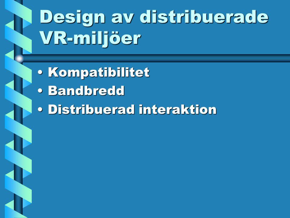 Design av distribuerade VR-miljöer KompatibilitetKompatibilitet BandbreddBandbredd Distribuerad interaktionDistribuerad interaktion