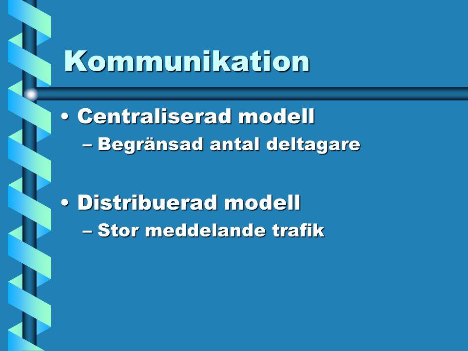 Kommunikation Centraliserad modellCentraliserad modell –Begränsad antal deltagare Distribuerad modellDistribuerad modell –Stor meddelande trafik