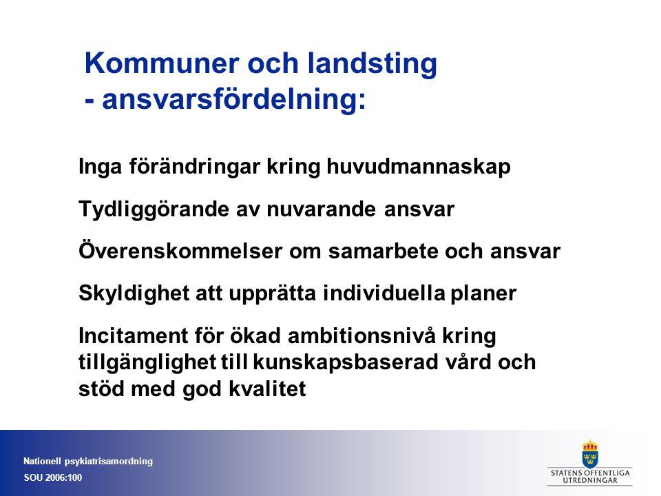Nationell psykiatrisamordning SOU 2006:100 Kommuner och landsting - ansvarsfördelning: Inga förändringar kring huvudmannaskap Tydliggörande av nuvaran