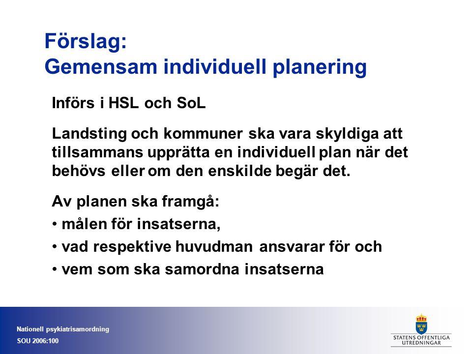 Nationell psykiatrisamordning SOU 2006:100 Förslag: Gemensam individuell planering Införs i HSL och SoL Landsting och kommuner ska vara skyldiga att t
