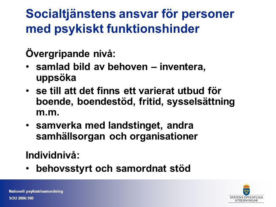 Nationell psykiatrisamordning SOU 2006:100 Socialtjänstens ansvar för personer med psykiskt funktionshinder Övergripande nivå: samlad bild av behoven