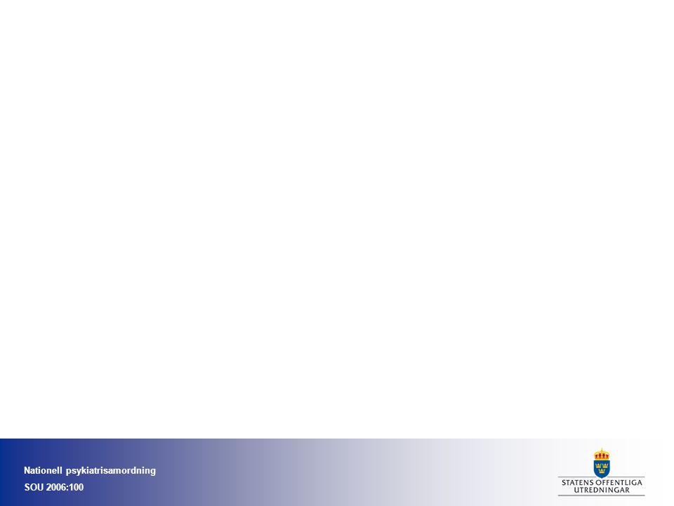 Nationell psykiatrisamordning SOU 2006:100 Psykisk hälsa - vård på rätt nivå Hälsoarbete, primärprevention Tidiga insatser, riskgrupper Första linjens vård Specialis psyk Högspec