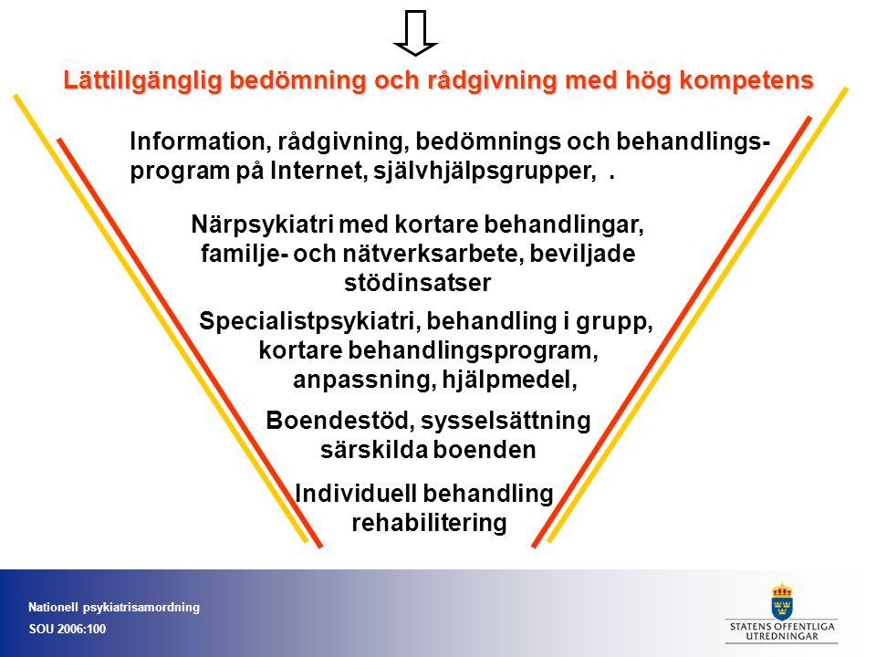 Nationell psykiatrisamordning SOU 2006:100 Lättillgänglig bedömning och rådgivning med hög kompetens Information, rådgivning, bedömnings och behandlin